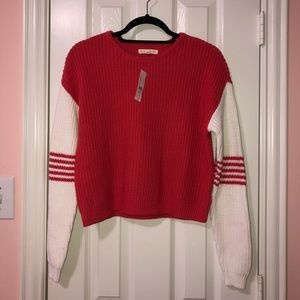 Coral/White Color Blocked Sweater